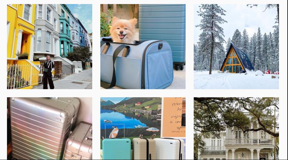 Instagram advertising examples of Away.