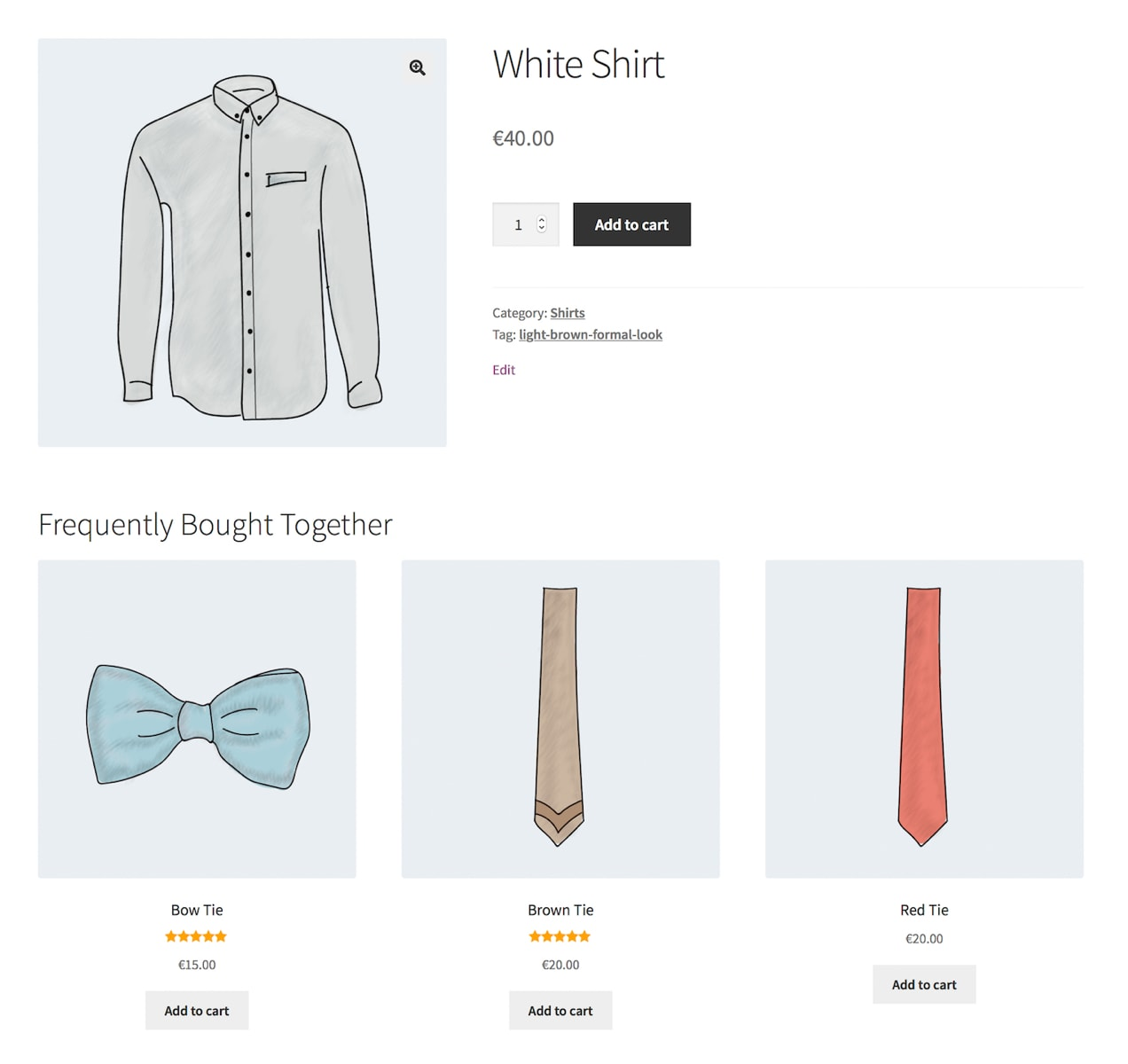 product recommendations shown below a product listing