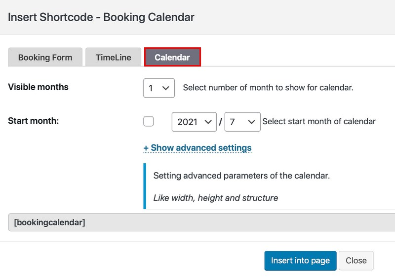 booking calendar setting
