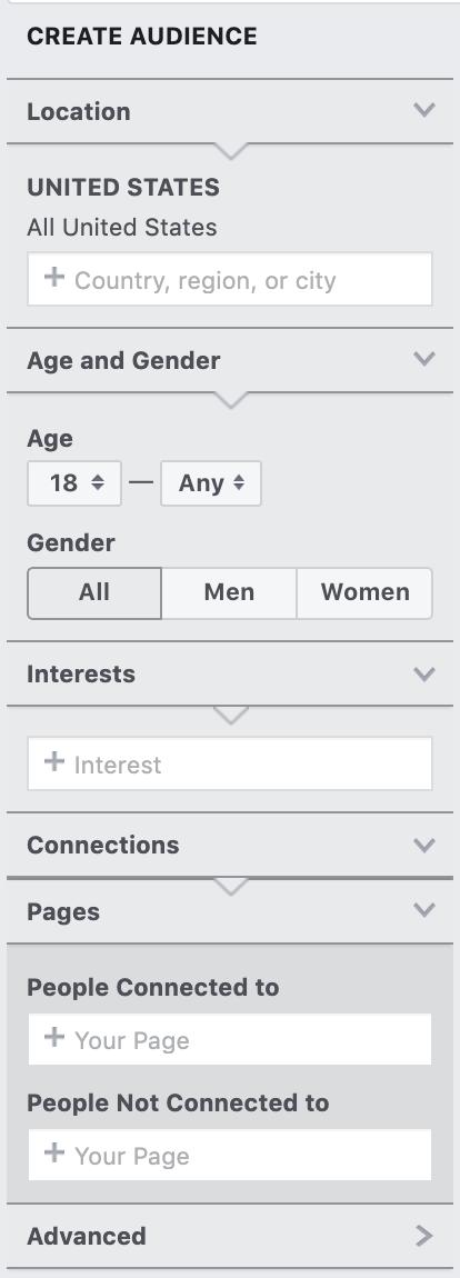 Create Audience options.