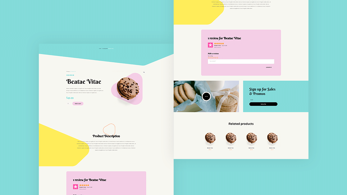 Download a FREE Product Page Template for Divi's Homemade Cookies Layout Pack