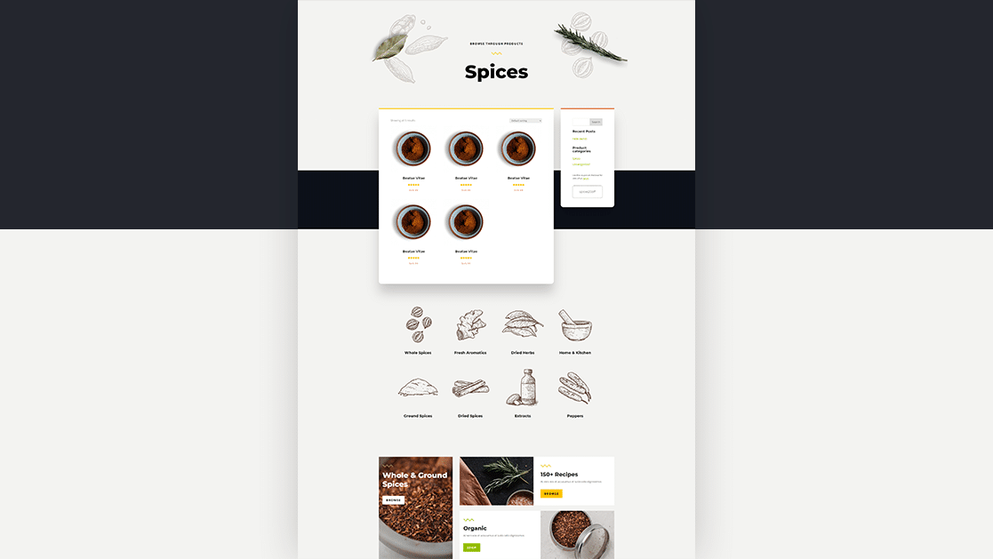 Download a FREE Product Category Page Template for Divi's Spice Shop Layout Pack
