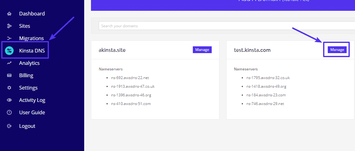The Kinsta DNS option from the MyKinsta dashboard with an arrow pointing at the