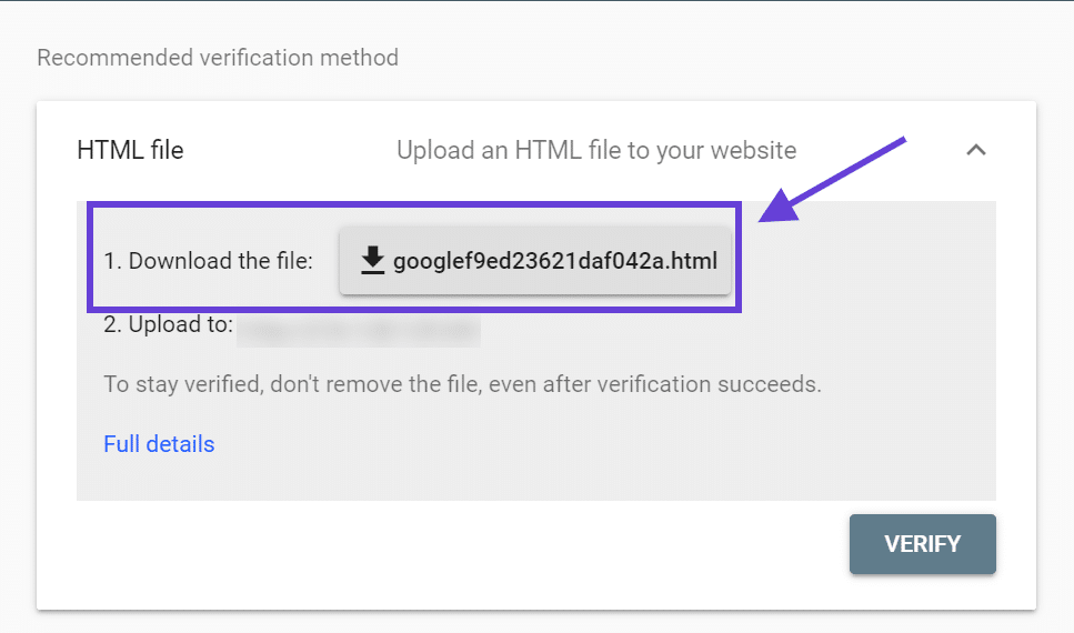A window showing the option to download a verification file from Google Search Console.