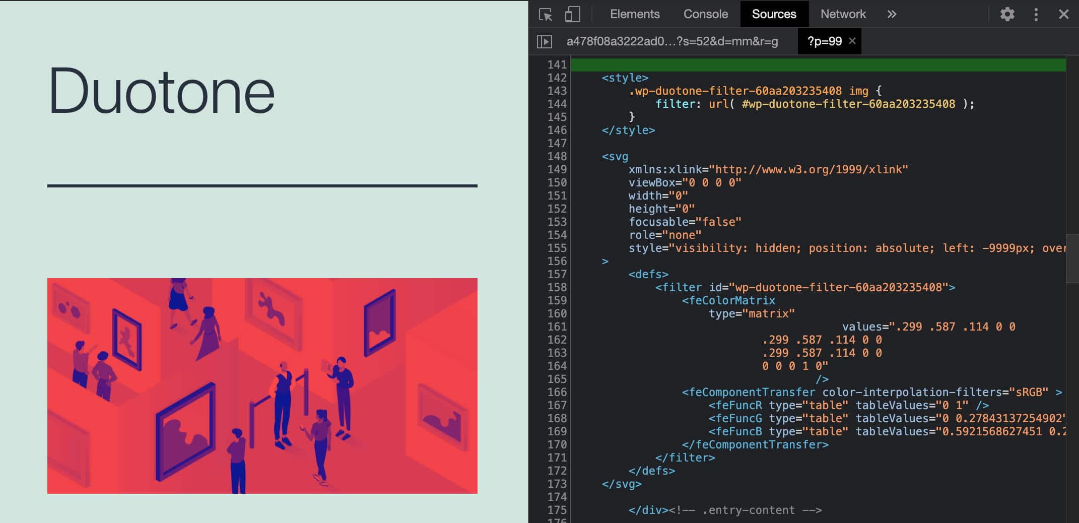 Inspecting the duotone SVG filter in Chrome DevTools.