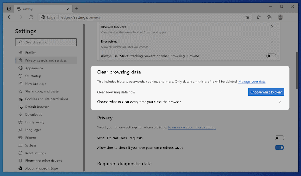 The Microsoft Edge caching options.