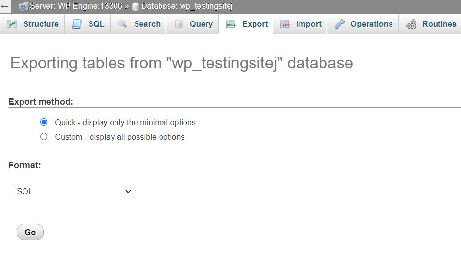 Exporting the database