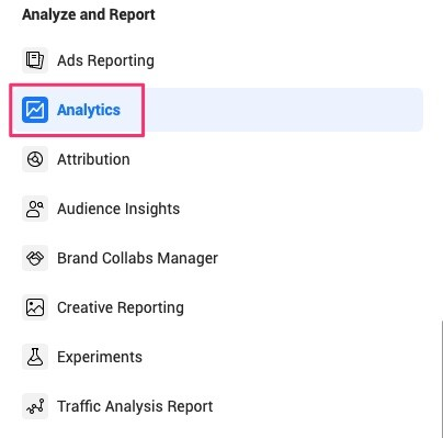Analytics tool in Facebook Business Manager.