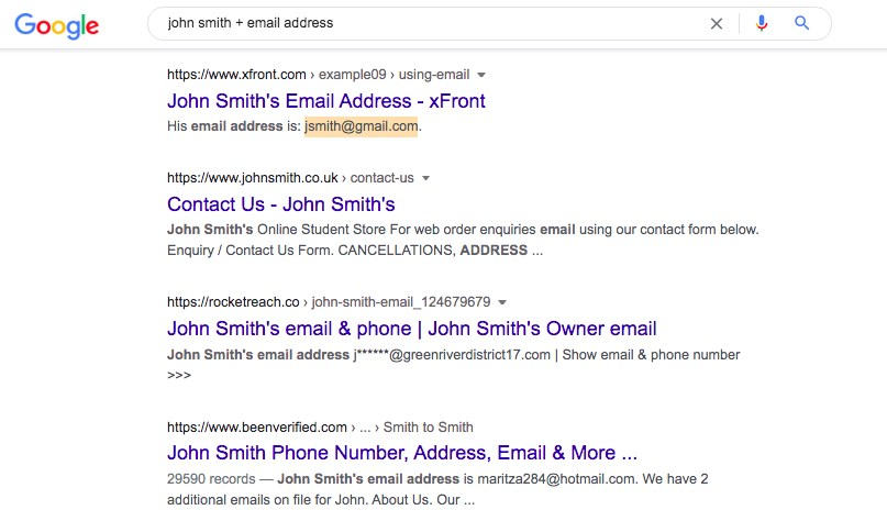 find email using google search