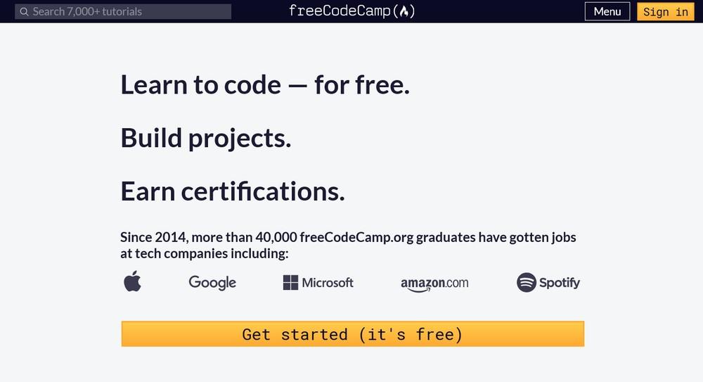 freeCodeCamp homepage