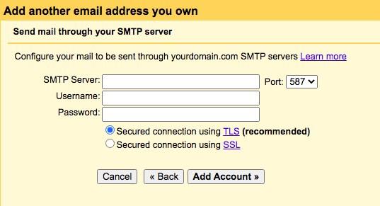 gmail SMTP setting