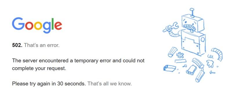 google 502 error example