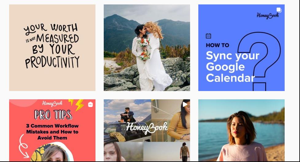 Instagram advertising examples of Honeybook.