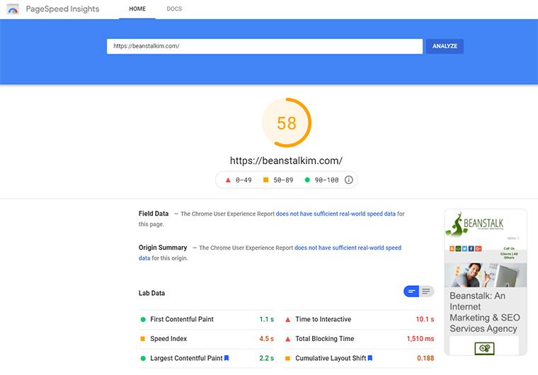 PageSpeed Insights score using Hummingbird.