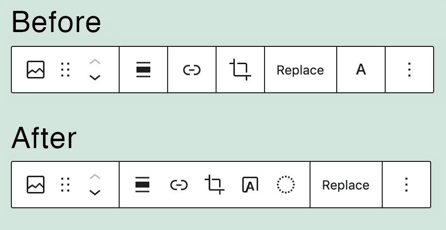 Image block toolbar in WordPress 5.7 vs WordPress 5.8.