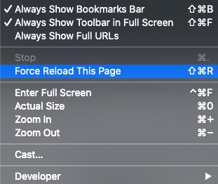 mac force reload this page