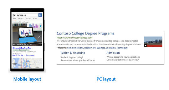 microsoft ads video extension examples