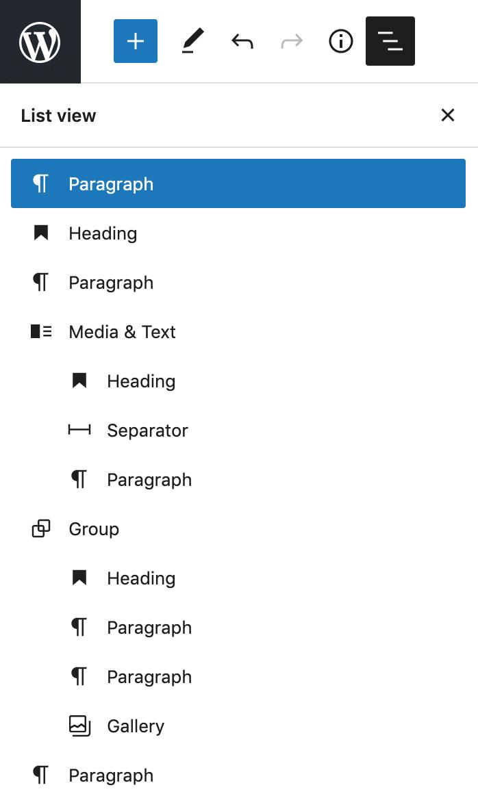 The List View sidebar in WordPress 5.8.