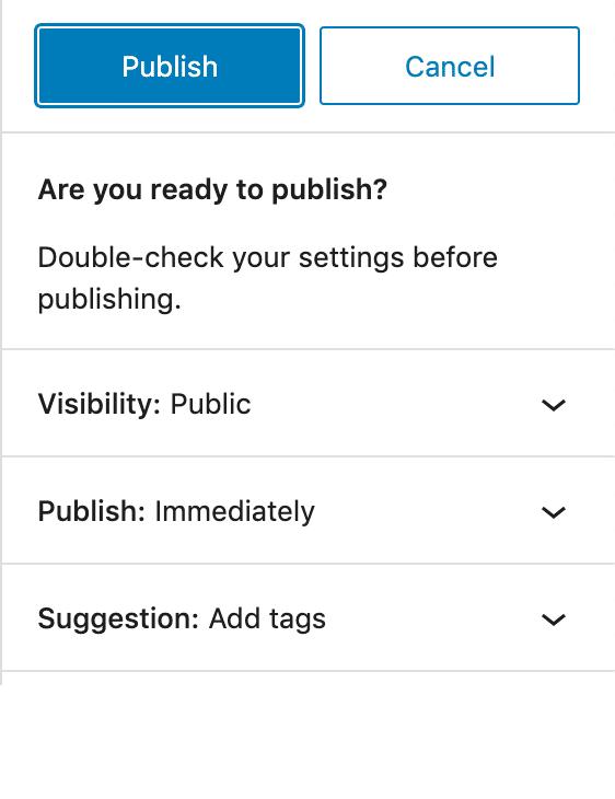 Publishing UI in WordPress 5.7.