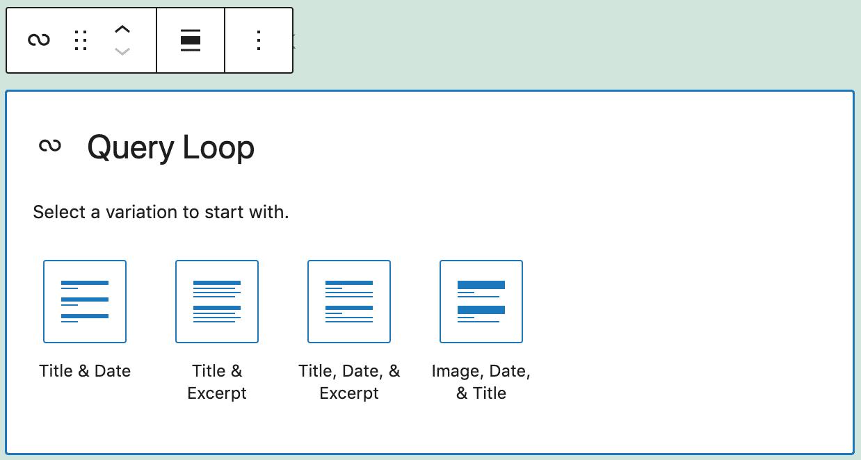 Query Loop block variations.