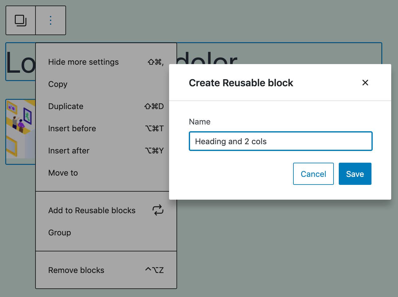 A modal for the reusable blocks creation flow.