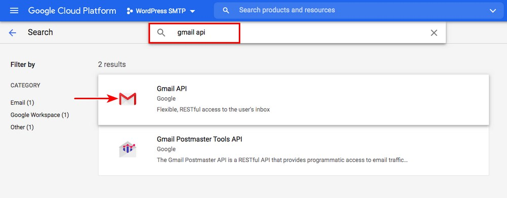 search for gmail API