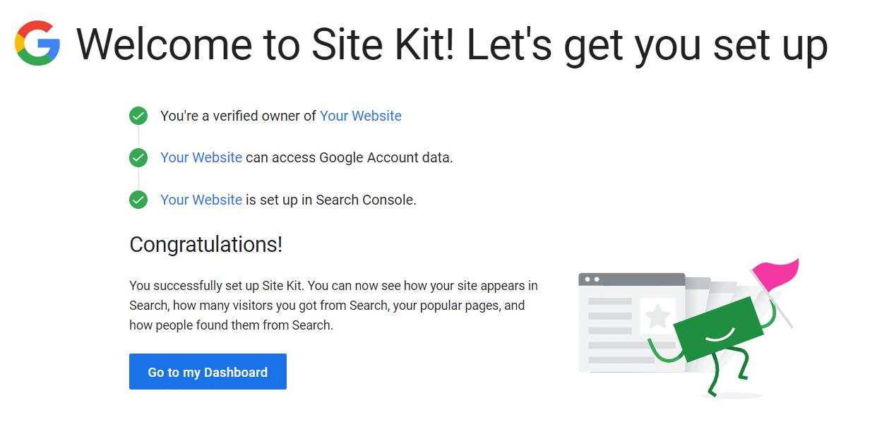 A Site Kit setup success message saying