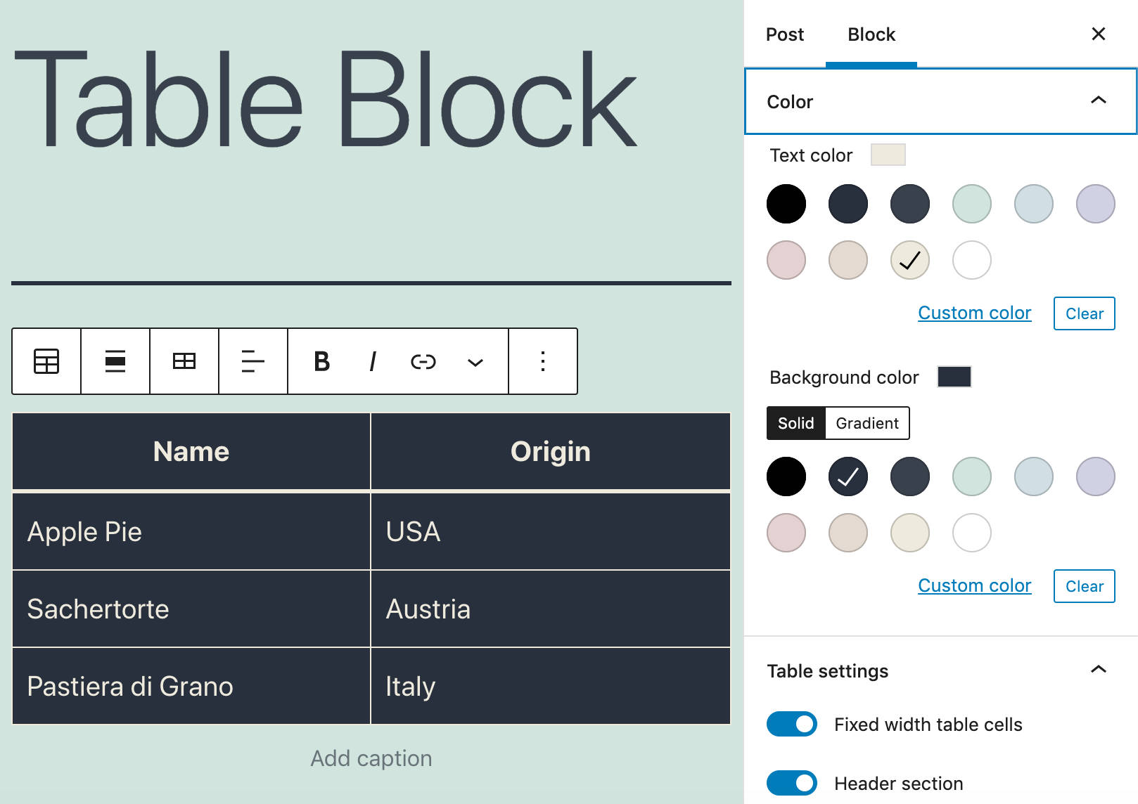 Enhanced Table block Color settings.