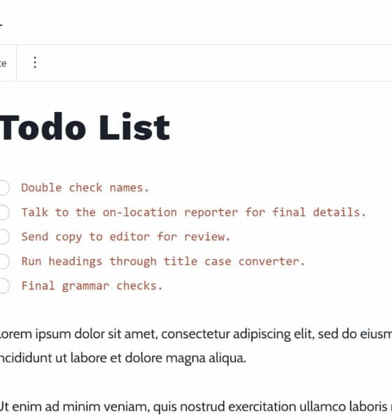 Create a Publishing Task List With the Todo List Block