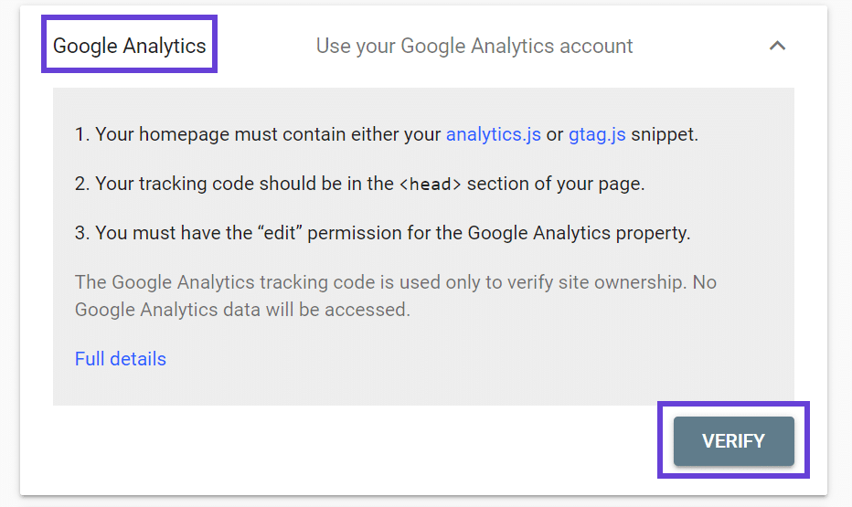 The Google Analytics verify account screen with a highlight box around the