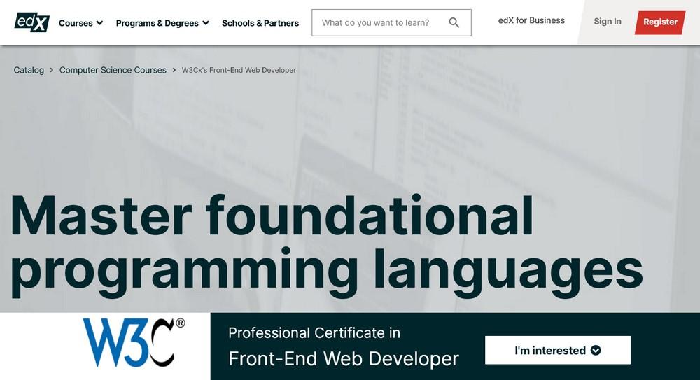 w3c web developer course