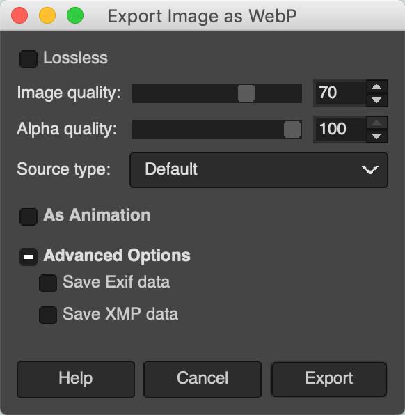 Export image as WebP in GIMP.