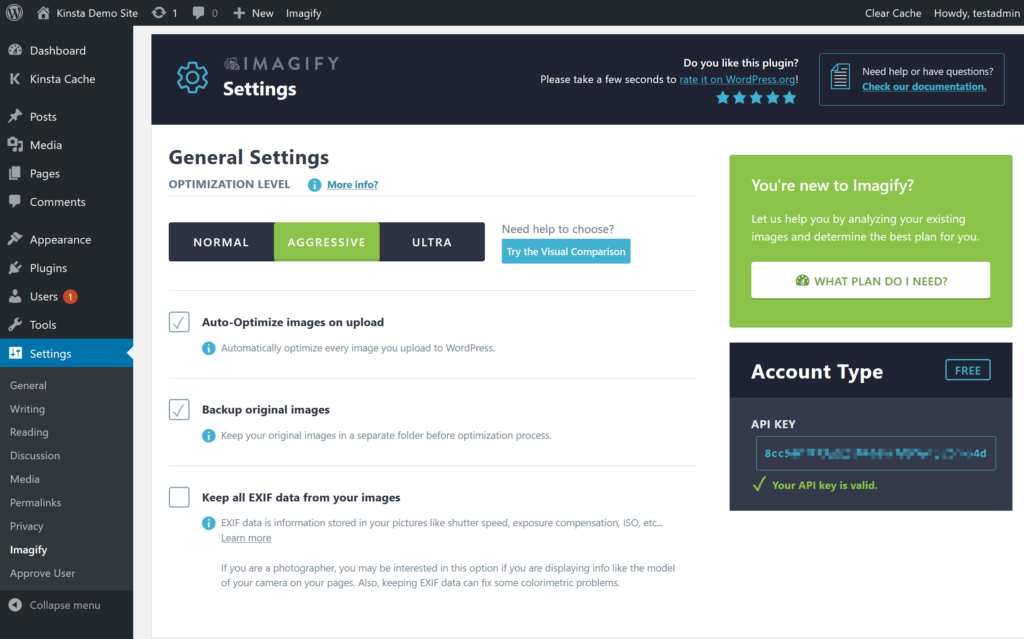 How to set compression level in Imagify