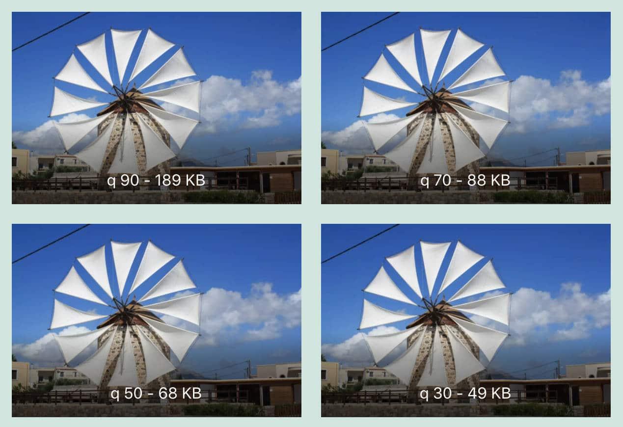 Comparison of compression factor and file sizes.