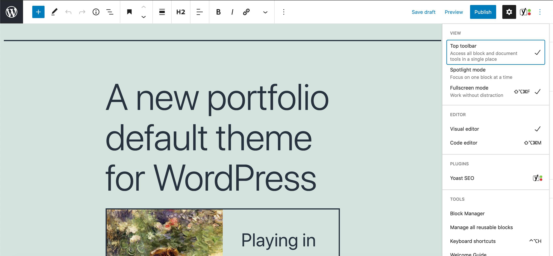 The top toolbar on wide screens in WordPress 5.7.
