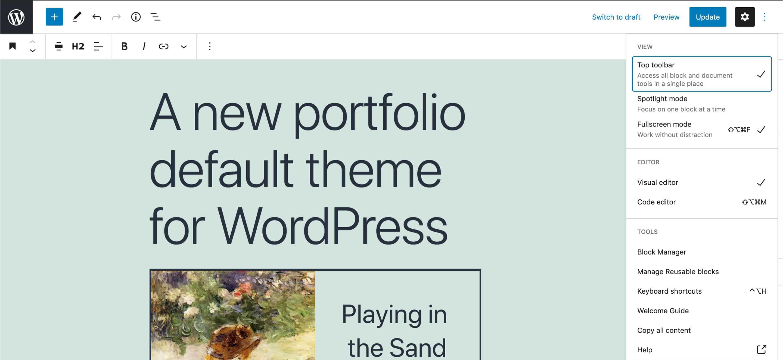 The top toolbar on wide screens in WordPress 5.8.