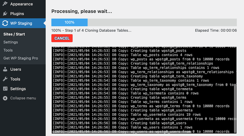 The WP Staging plugin's cloning procedure.