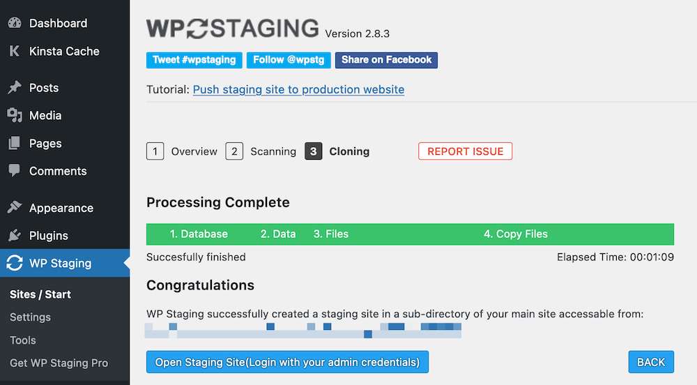 The WP Staging Completion screen.