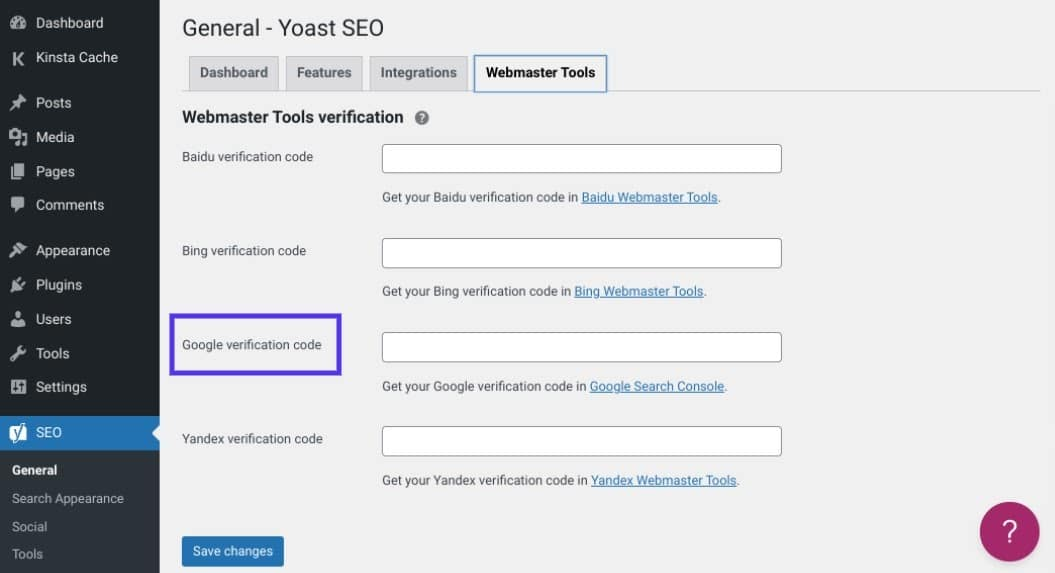 Google site verification in Yoast SEO in WordPress with a highlight box around the