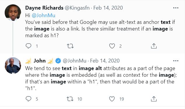 Screenshot of tweet from John Mueller explaining how Google sees image alt text.