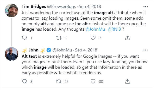 Screenshot of a tweet from John Mueller explaining that alt text is very helpful for Google images, even when using lazy load.