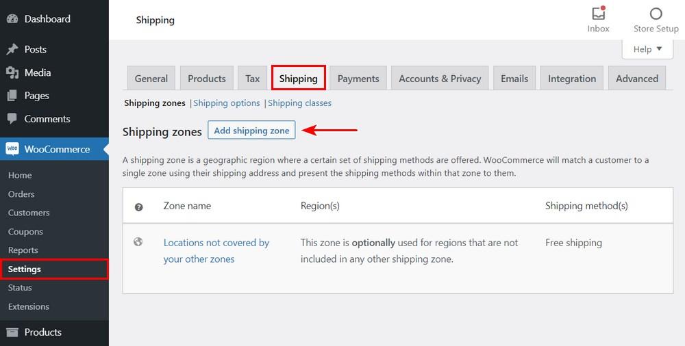 Add shipping zone WooCommerce