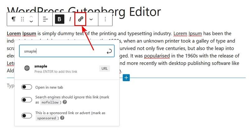 Adding link in Gutenberg