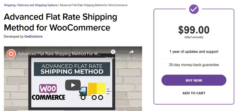 Advanced flat rate shipping method for WooCommerce plugin