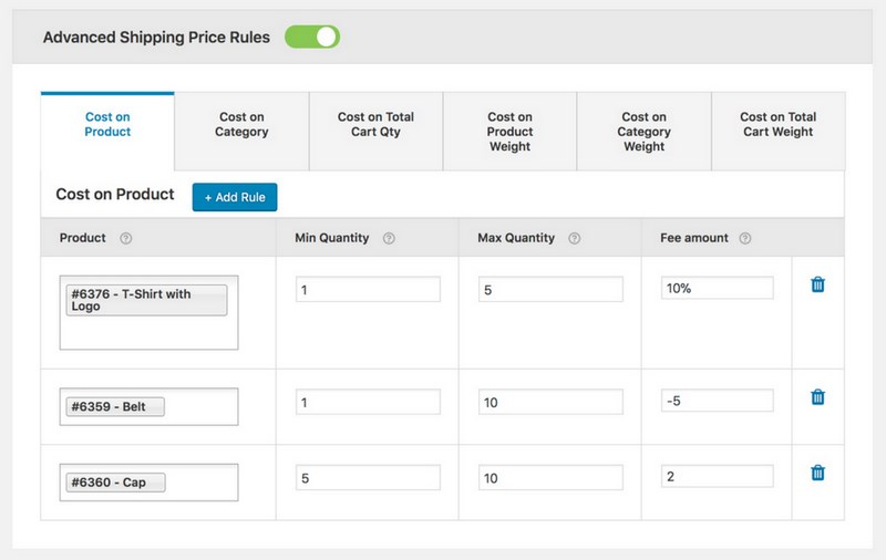 Advanced shipping price rules