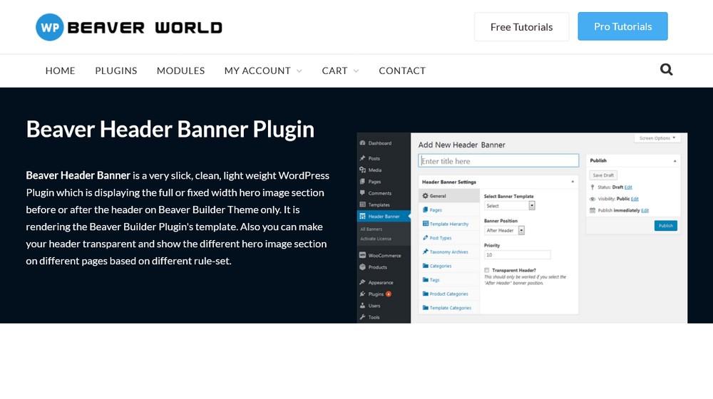 Beaver Header Banner plugin