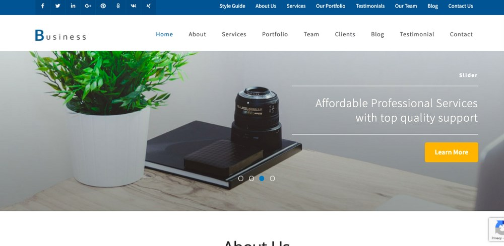Business one page pro theme