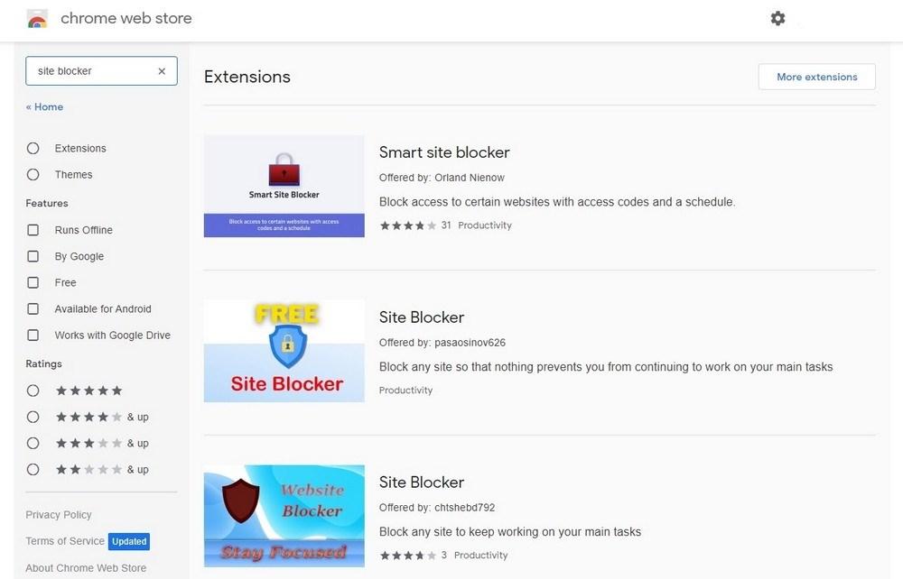 Chrome Site Blocker Extensions