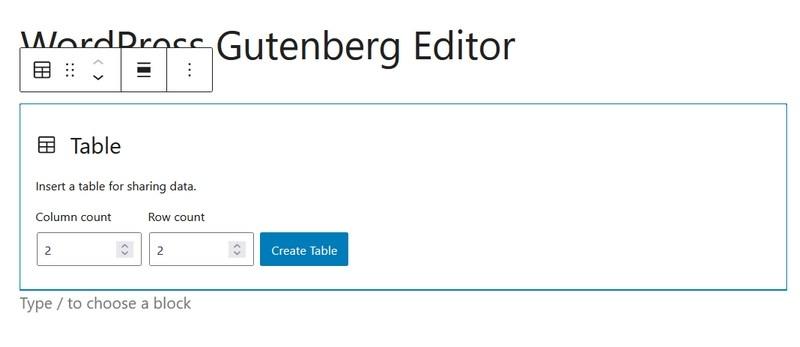 Create table in Gutenberg