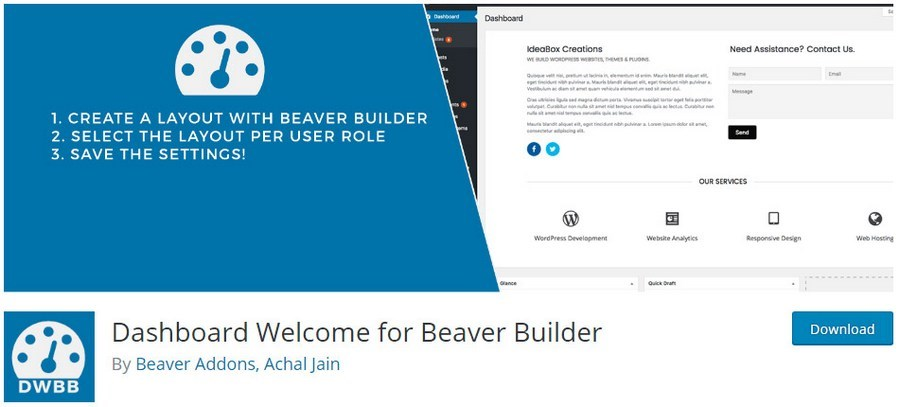 Dashboard welcome for Beaver Builder plugin